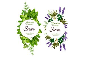 Organic herbs and spices, seasonings