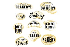 Bakery shop cakes, pastry lettering