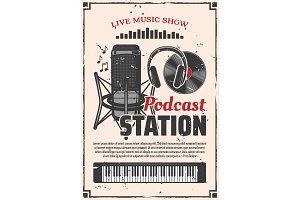 Radio music show podcast station