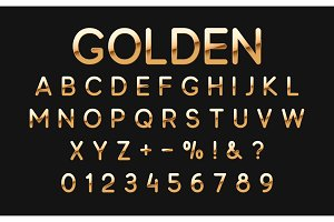 Gold font and alphabet.