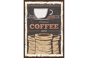 Coffee cup and beans in bag, vintage