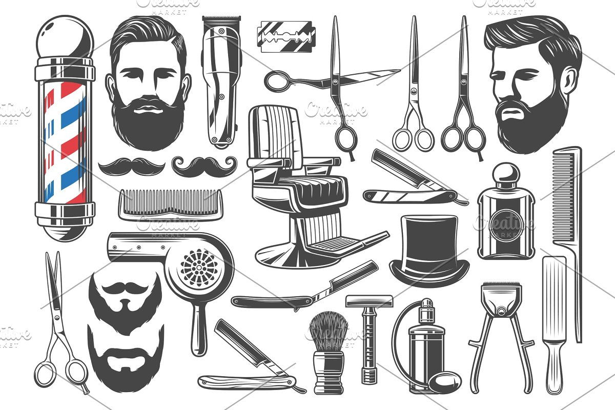 Barbershop haircut and shave icons