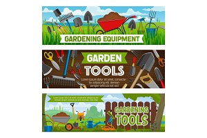 Gardening vector equipment and tools