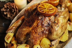 Roasted turkey or chicken