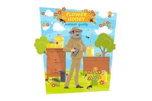 Beekeeping, beekeeper at beehives