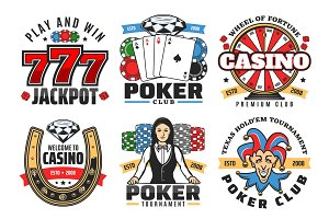 Casino poker, jackpot gambling icons