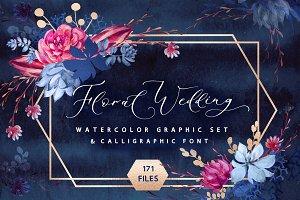 Floral wedding graphic & script font