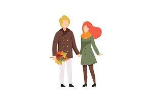 Happy couple in autumn season