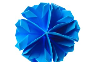 blue origami unit snowflake isolated