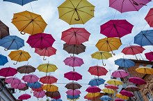 Colorful Umbrella Roof. by  in Arts & Entertainment
