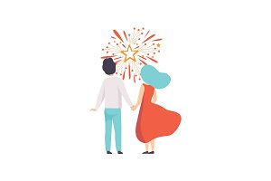 Happy couple watching explosion of
