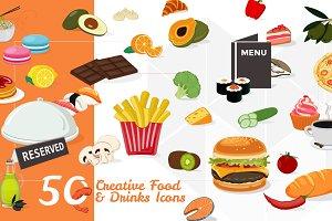 50 Food & Drinks Icons: PSD / AI