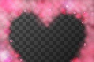 Bright pink lovely heart frame
