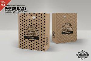 Paper Bag Cutout Handle Mockup