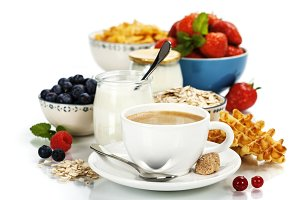 Healthy breakfast - yogurt, coffee,