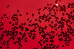 Red holographic glitter confetti