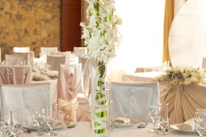White beautiful table set for a wedd