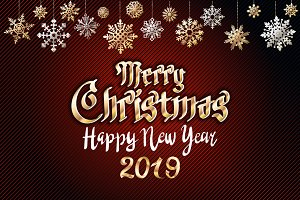 vector gold Merry christmas greeting