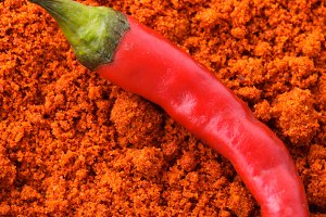 Red hot chilli pepper in wooden spoo