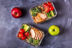 Healthy balanced lunch box