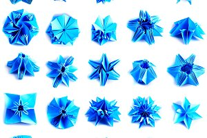 Twenty five blue origami units snowf