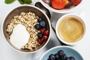 Healthy breakfast - muesli and berri