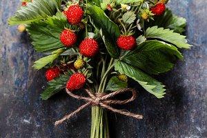 fresh Wild strawberries on wooden ba