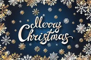 vector Merry Chrismas snowflakes