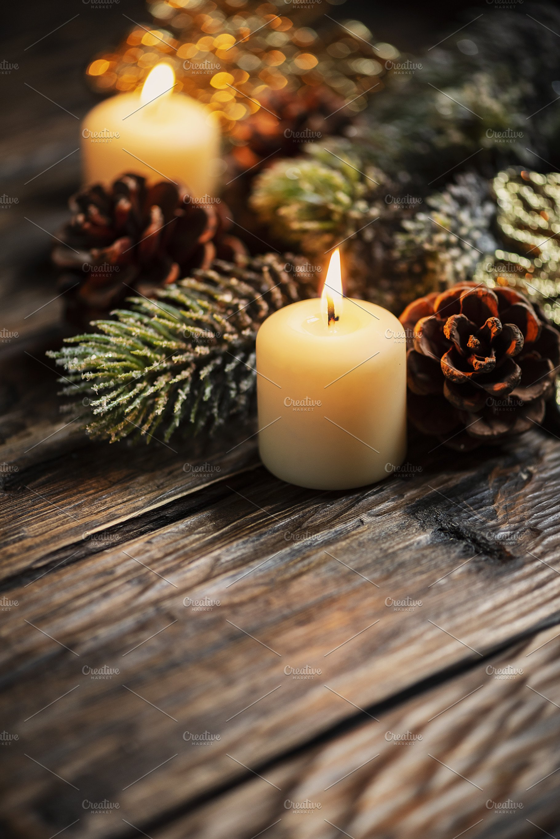 Save. Christmas decoration with candles