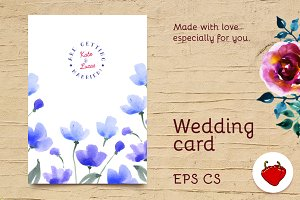 Wedding watercolor postcard