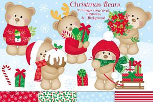 Cute Christmas Bears Clipart & Paper