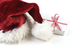 Santa Hat on white with a small wrap