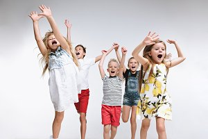 Group fashion cute preschooler kids