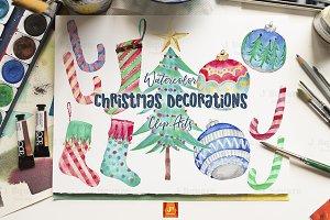 Watercolor Xmas Decor Clip Arts-1