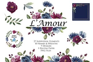 Burgundy and Navy Floral Clip Art