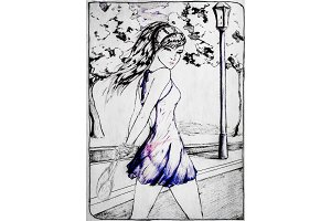 A drawing of a girl walking along a