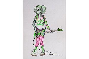 Metalist girl rocker playing an