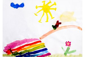 Childrens drawing in watercolor, the