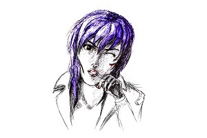 Figure ballpoint pen, emo goth with