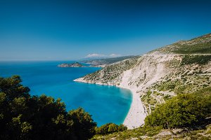 Beautiful view of Myrtos beach in