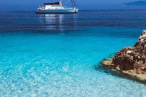 Beautiful calm azure blue lagoon