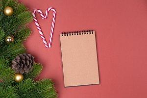 Blank notebook list and fir tree