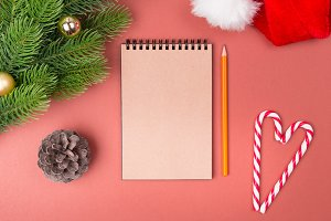 Blank notebook list, candy cane and