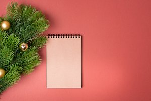 Background with decorated fir tree