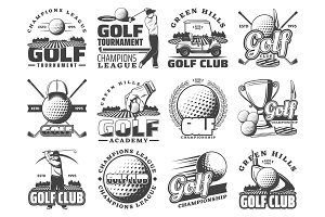 Golf sport game vector icons