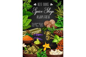 Spices and herbs culinary seasonings