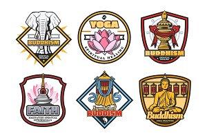 Buddhism religion vector symbols