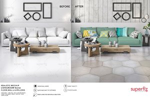 Floor Wall&Pillows Mockup Scene SM48