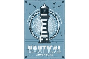 Nautical lighthouse tower, vector