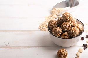 Healthy organic energy granola bolls